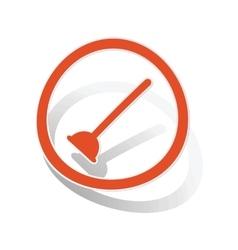 Plunger sign sticker orange vector