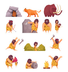 primitive people in stone age vector image