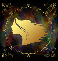 Profile golden girl to a beauty salon vector