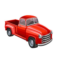 Red truck on white background vector