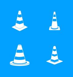 road cone icon blue set vector image