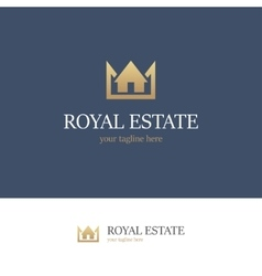 Royal estate logo on blue background vector