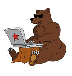 russian hacker - angry brown bear with laptop vector image