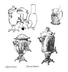 Russian samovarSketch drawing vector image