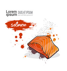 salmon hand drawn watercolor food on white vector image