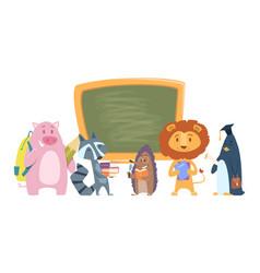 school animals back to school cartoon characters vector image