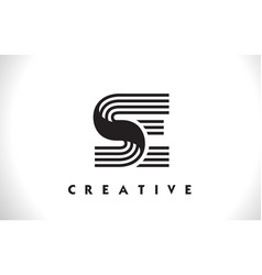 Se logo letter with black lines design line letter vector