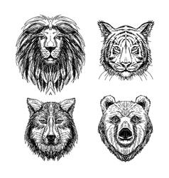 set hand drawn animal sketch vector image
