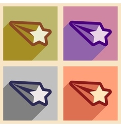 Set of flat icons with long shadow Christmas star vector