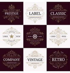 set retro vintage luxury logotypes vector image
