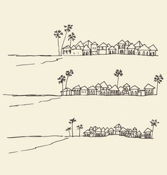 Set sketches seaside view beach sketch vector