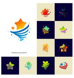Set stars twist logo design concept storm vector