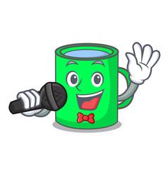 singing mug mascot cartoon style vector image