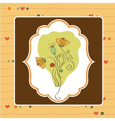 thank you greeting card with flower vector image
