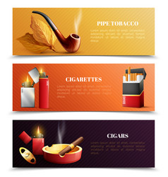Tobacco products horizontal banners vector
