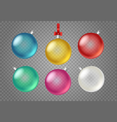 transparent glass christmas baubles clipart vector image
