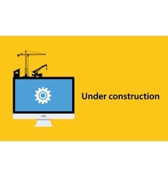 Under construction concept with pc computer vector
