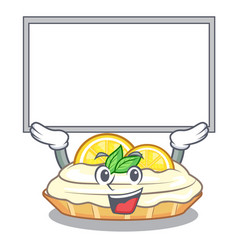Up board cartoon lemon cake with sugar powder vector