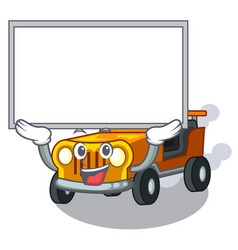 Up board jeep car isolated with cartoon vector