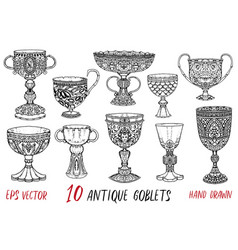 vintage collection with ten antique goblets vector image