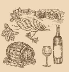 wine set hand drawn vineyad bottle of wine vector image