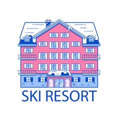 winter ski resort line vector image