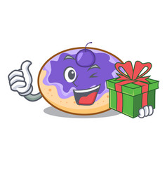 With gift donut blueberry mascot cartoon vector
