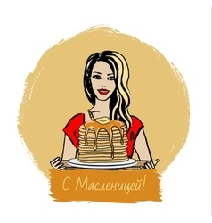 woman with pancakes vector image
