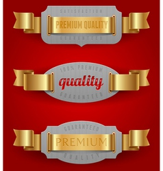 Decorative emblems of quality with golden ribbons vector image vector image