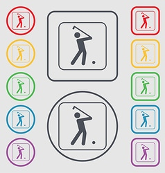 Golf icon sign symbol on the Round and square vector image