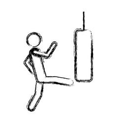 monochrome sketch of man kicking a punching bag vector image
