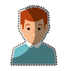 sticker colorful half body man with t-shirt vector image