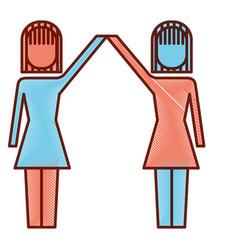 businesswomen with raised arms triumph success vector image