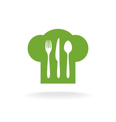 Cooking hat fork knife and spoon symbol vector image