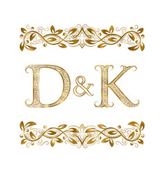 D and k vintage initials logo symbol the letters vector