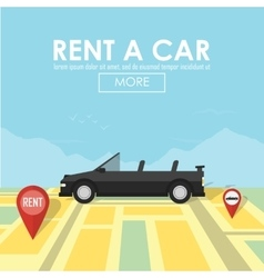 Rent a car pin pointer on map location vector image