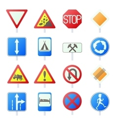 Road Sign Set icons vector image vector image
