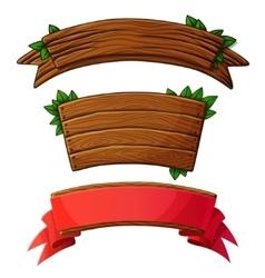 Set of dark wooden banners vector image