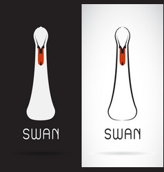 swan head design on black background and white vector image vector image
