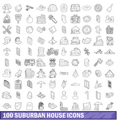 100 suburban house icons set outline style vector image