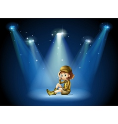 A stage with a young actress vector image