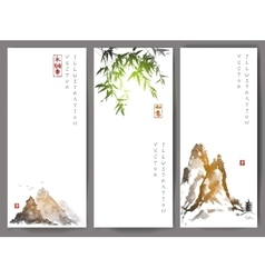 Banners with green bamboo mountains and island vector image vector image