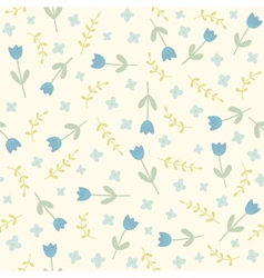 Blue flowers and plants seamless pattern vector image vector image