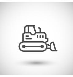 Crawler bulldozer line icon vector image