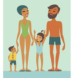 Family in swimming pool vector image vector image