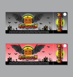 halloween party ticket design concept vector image