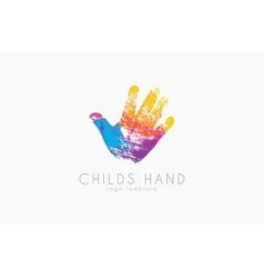Hand logo design Childs hand logo Colorful logo vector image vector image