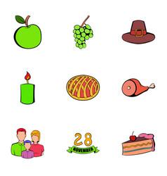 november day icons set cartoon style vector image vector image
