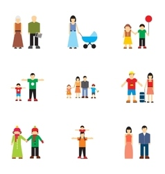 Relatives icons set flat style vector image vector image