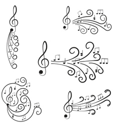 Music Treble clef and notes for your design vector image
